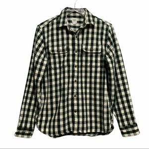 Gap Green White Buffalo Check Flannel Button Up